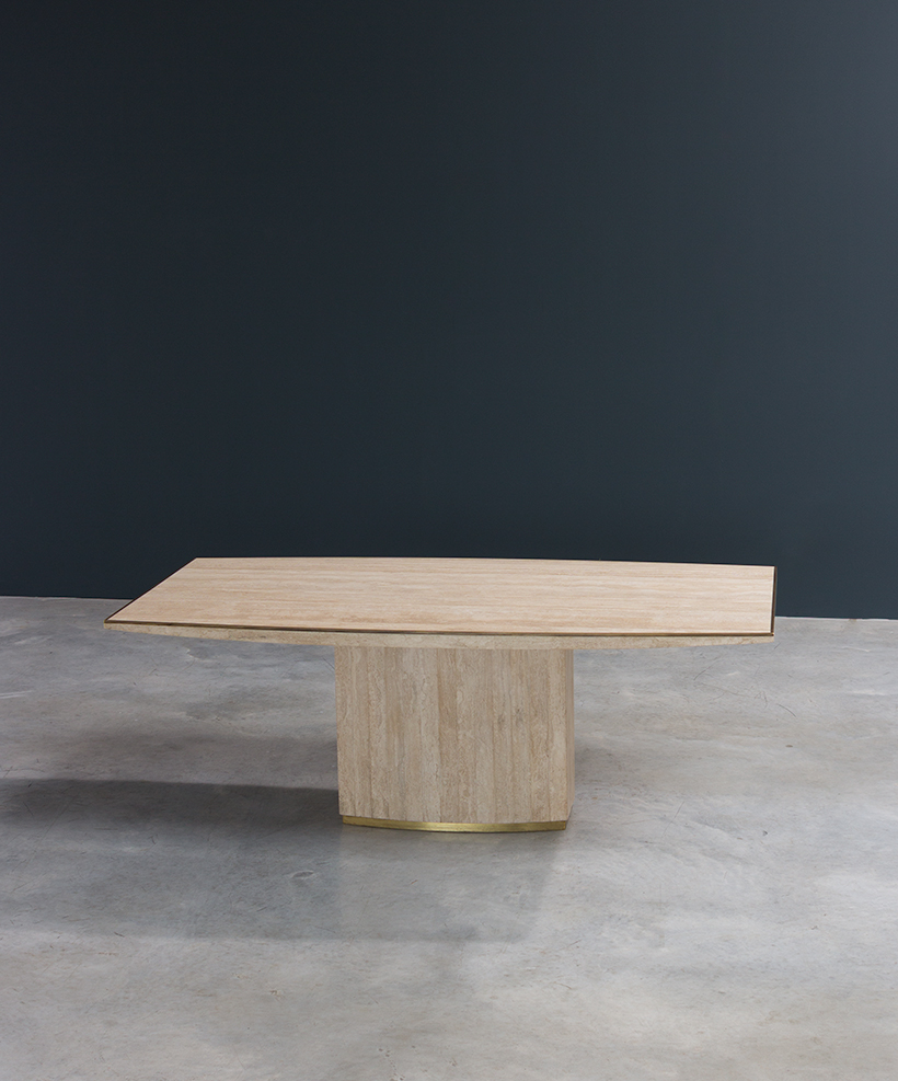 Jean Charles and Willy Rizzo travertine and brass dinning table or console img 6