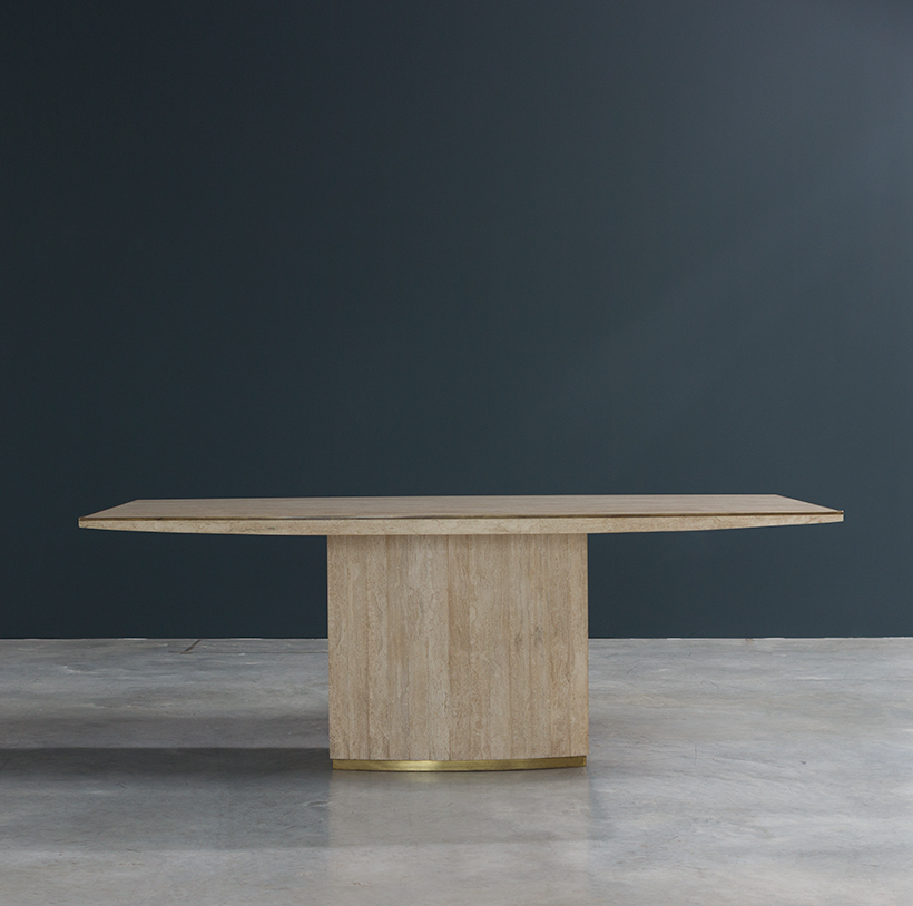 Jean Charles and Willy Rizzo travertine and brass dinning table or console img 7