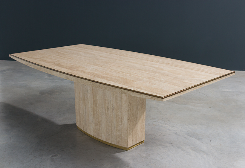 Jean Charles and Willy Rizzo travertine and brass dinning table or console img 8