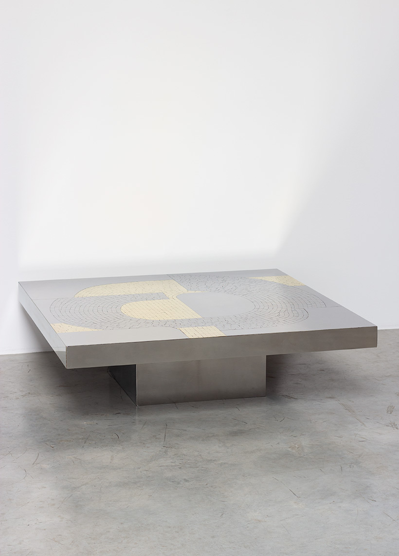 Jean Claude Dresse Stainless steel 1970 Modernist Coffee table