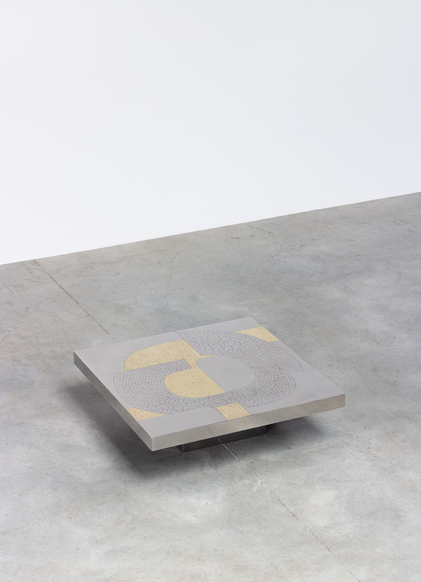 Jean Claude Dresse Stainless steel 1970 Modernist Coffee table img 3
