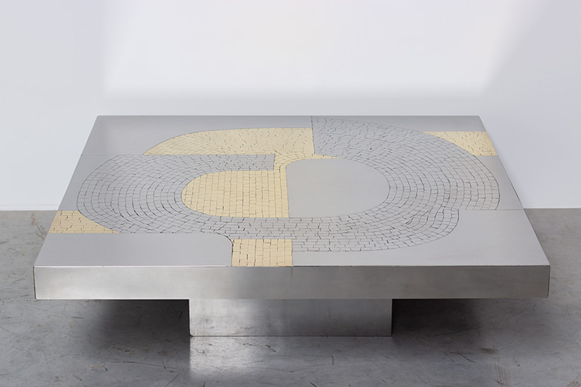 Jean Claude Dresse Stainless steel 1970 Modernist Coffee table img 5