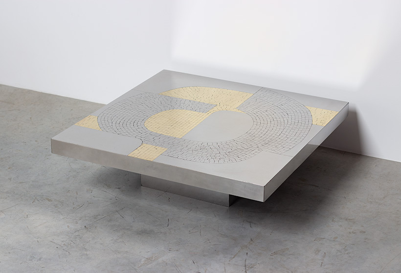 Jean Claude Dresse Stainless steel 1970 Modernist Coffee table img 6
