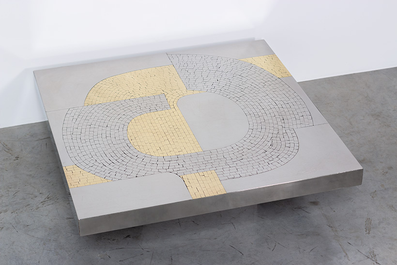 Jean Claude Dresse Stainless steel 1970 Modernist Coffee table img 7
