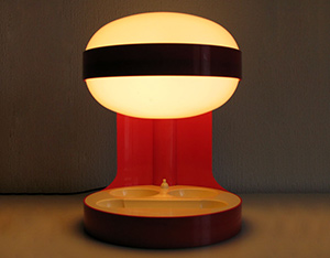 Joe Colombo Red KD27 Space Age Light Bulb 1960