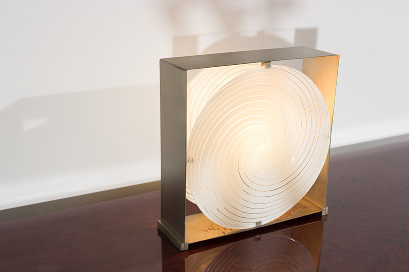 Lamp with brushed steel frame and spiral Murano glass 1970