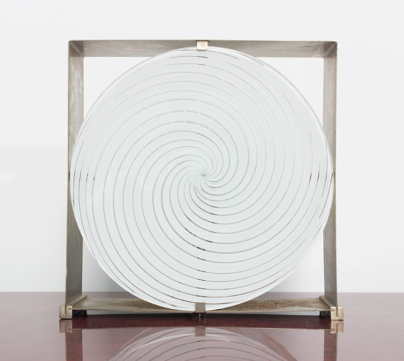 Lamp with brushed steel frame and spiral Murano glass 1970 img 6