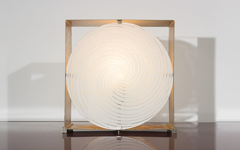 Lamp with brushed steel frame and spiral Murano glass 1970 img 7