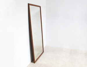 Large classic mercury mirror with oak frame