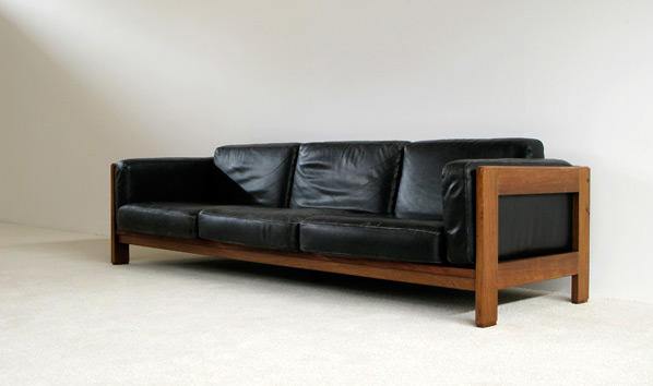 Large leather Rosewood 4 seater Bastiano