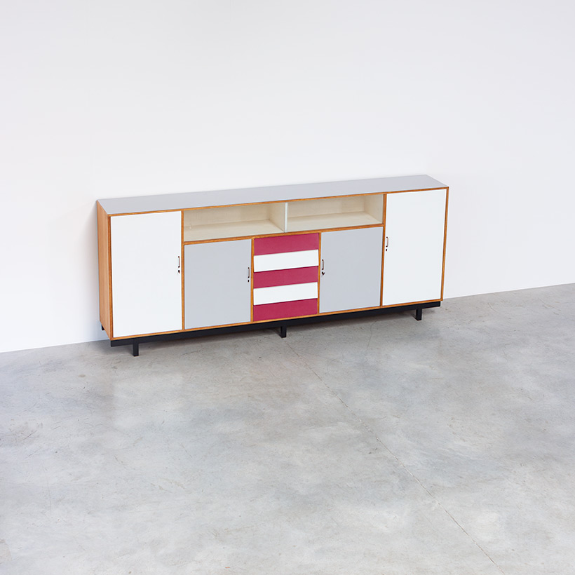 Large modernism Formica sideboard with a play of colors circa 1950