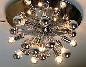 Large Space age chrome Sputnik ceiling lamp eames era