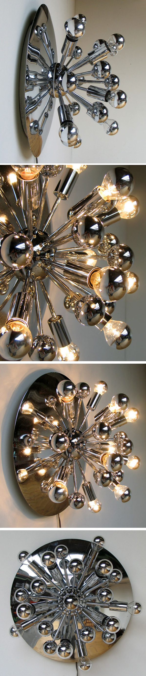 Large Space age chrome Sputnik ceiling lamp eames era Large