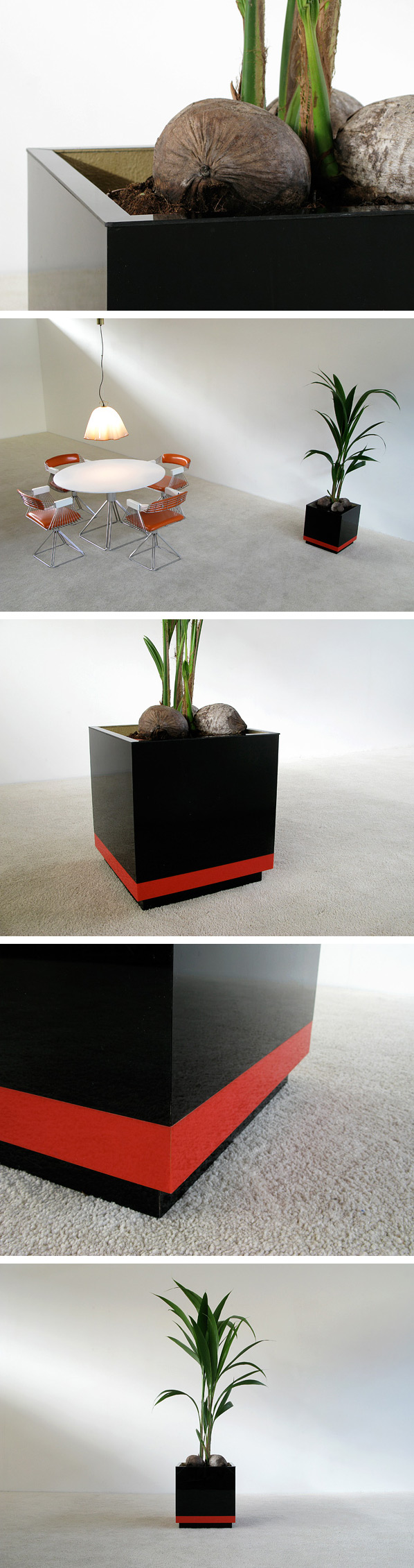 Large square Plexi Planter circa 1970 Large