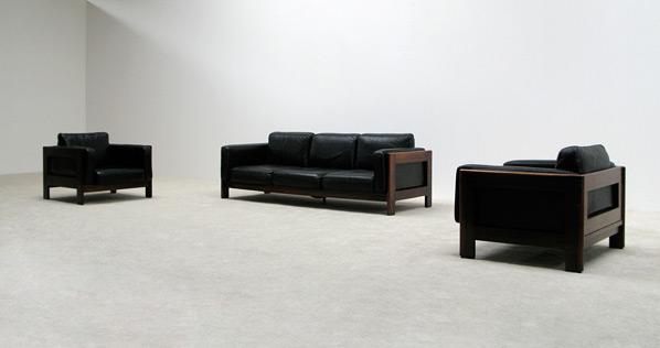 Leather Rosewood 3+1+1 seat sofa Bastiano Tobia Scarpa