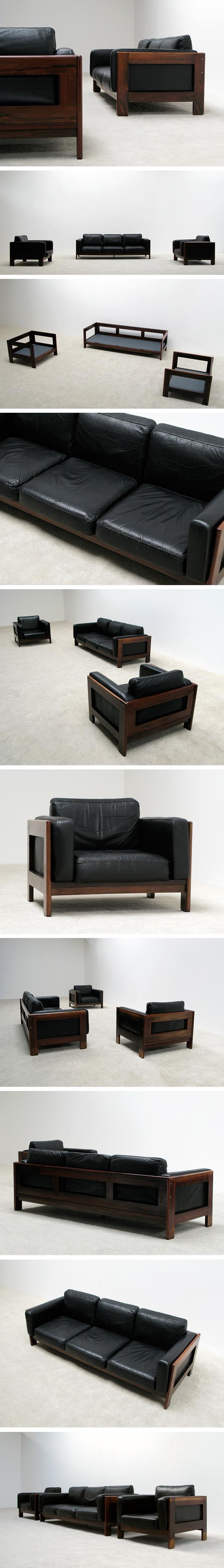 Leather Rosewood 3+1+1 seat sofa Bastiano Tobia Scarpa Large