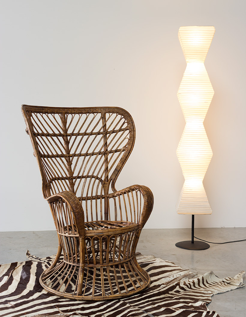 Lio Carminati and Gio Ponti Wicker chair for Vittorio Bonacina 1950