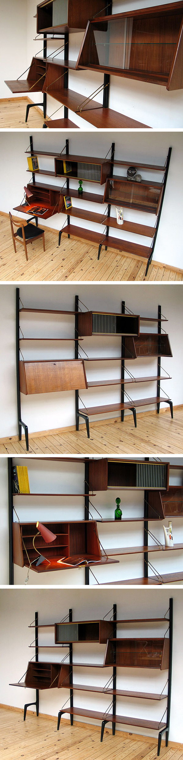 Louis van Teeffelen teak Modern Wall Unit Large