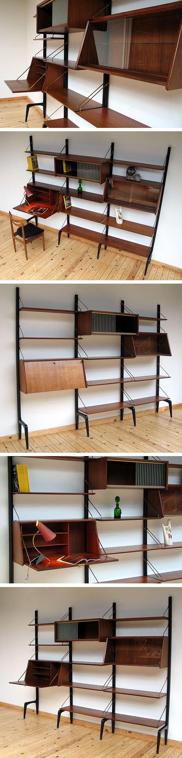 Louis van Teeffelen teak Modern Wall Unit Large