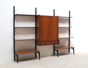 Louis van Teeffelen teak modular Wall unit with writing desk