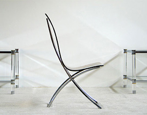 Lucite chrome side chair Edmond Vernassa