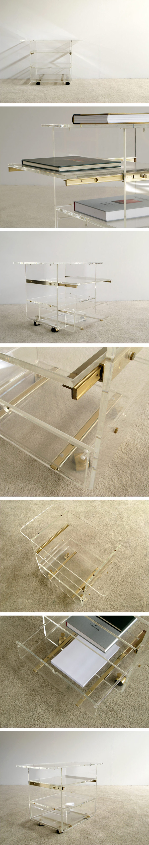 Lucite trolley Karl Springer Large
