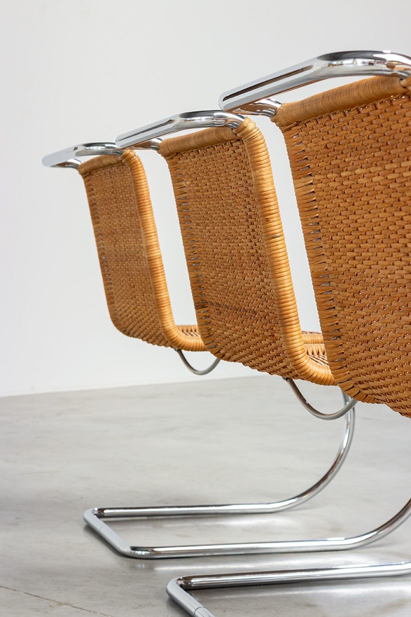Ludwig Mies van der Rohe four MR10 woven cane chairs by Thonet img 10