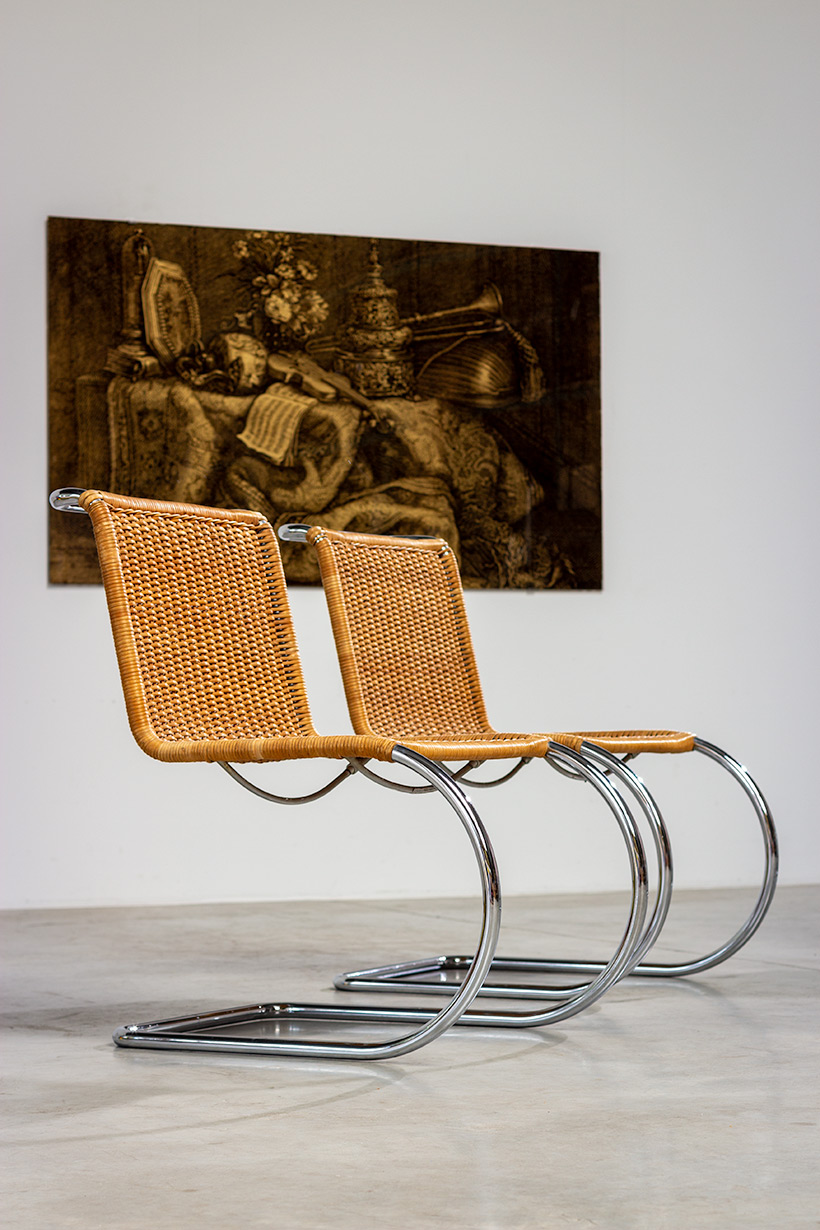 Ludwig Mies van der Rohe four MR10 woven cane chairs by Thonet