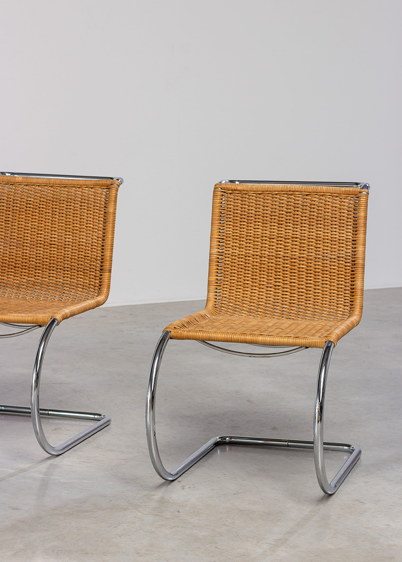 Ludwig Mies van der Rohe four MR10 woven cane chairs by Thonet img 5