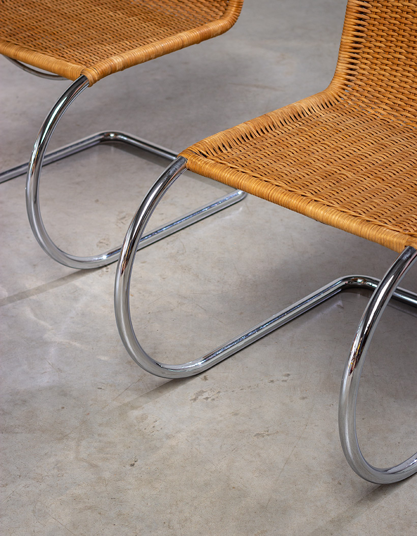 Ludwig Mies van der Rohe four MR10 woven cane chairs by Thonet img 6