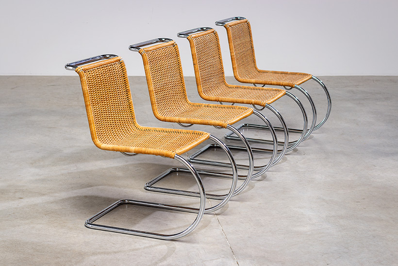 Ludwig Mies van der Rohe four MR10 woven cane chairs by Thonet img 7