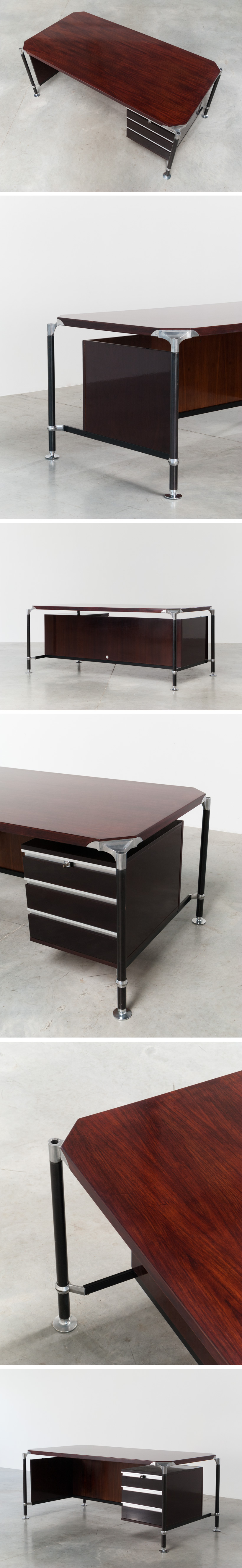 Luisa and Ico Parisi rosewood executive desk for MIM Large