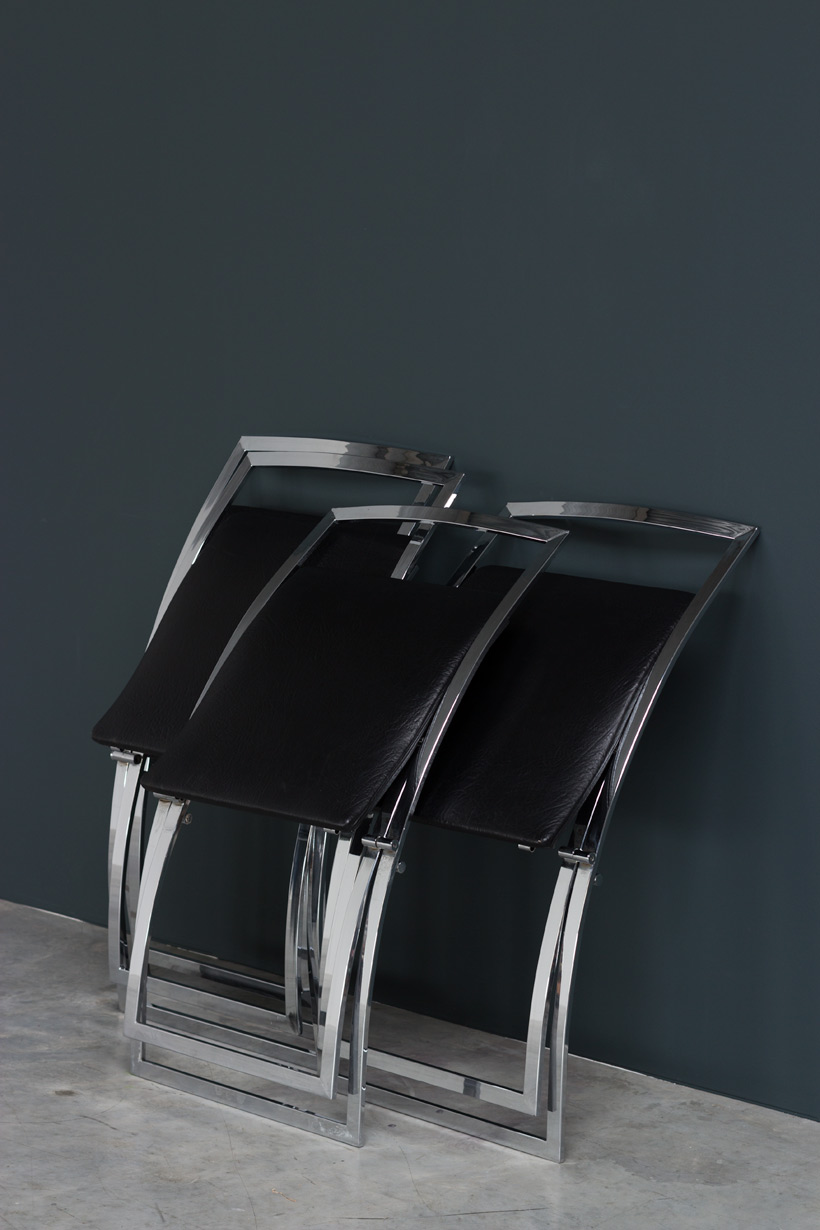 Marcello Cuneo 4 Luisa chrome dinning chairs