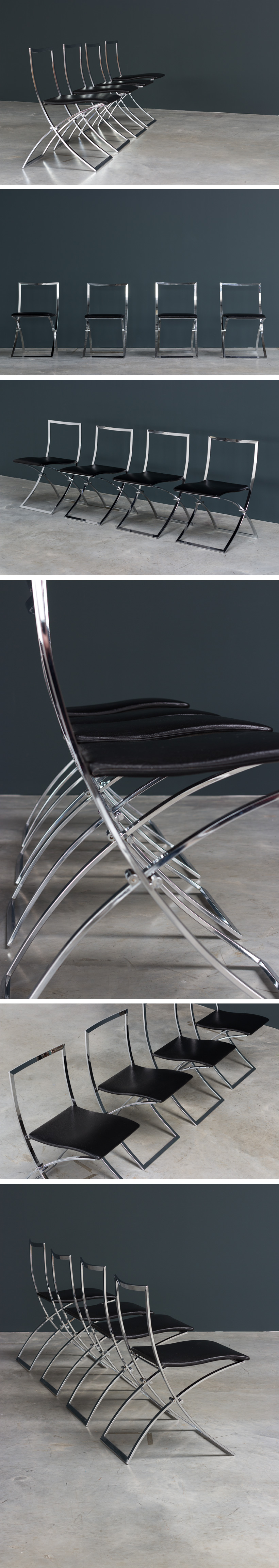 Marcello Cuneo 4 Luisa chrome dinning chairs Large