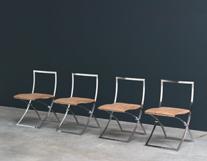 Marcello Cuneo 4 Luisa chrome folding chairs