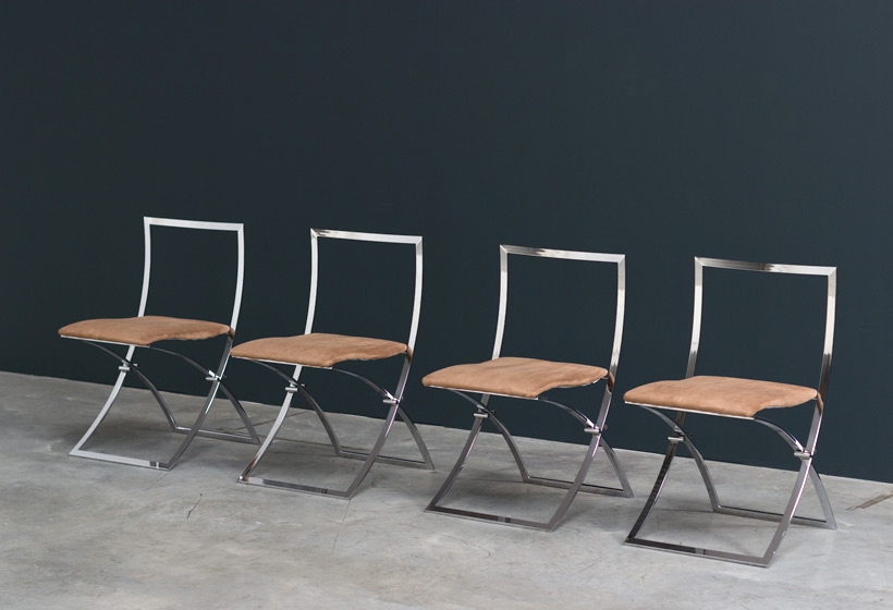 Marcello Cuneo 4 Luisa chrome folding chairs Large
