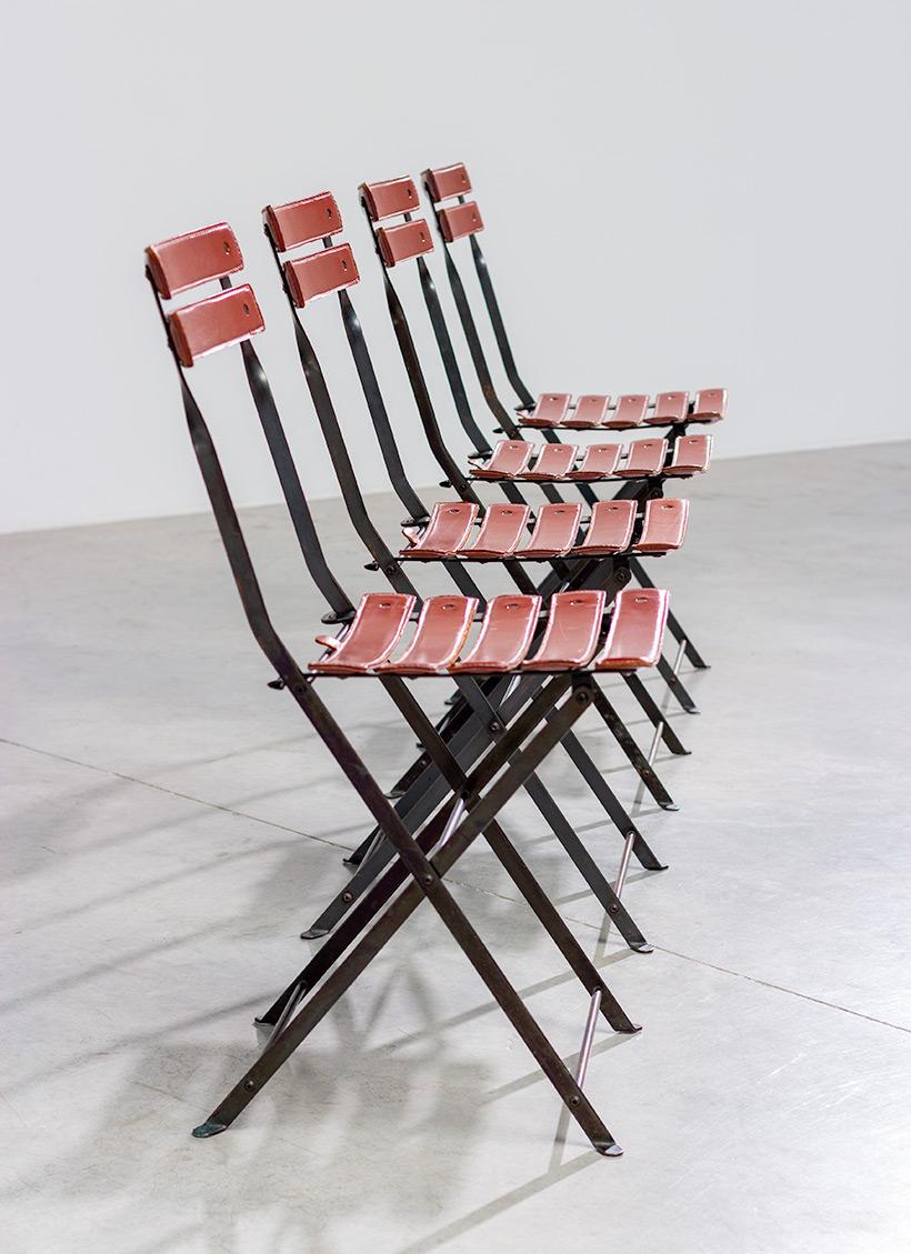 Marco Zanuso set of four folding chairs Celestina Zanotta Italy 1970s img 7