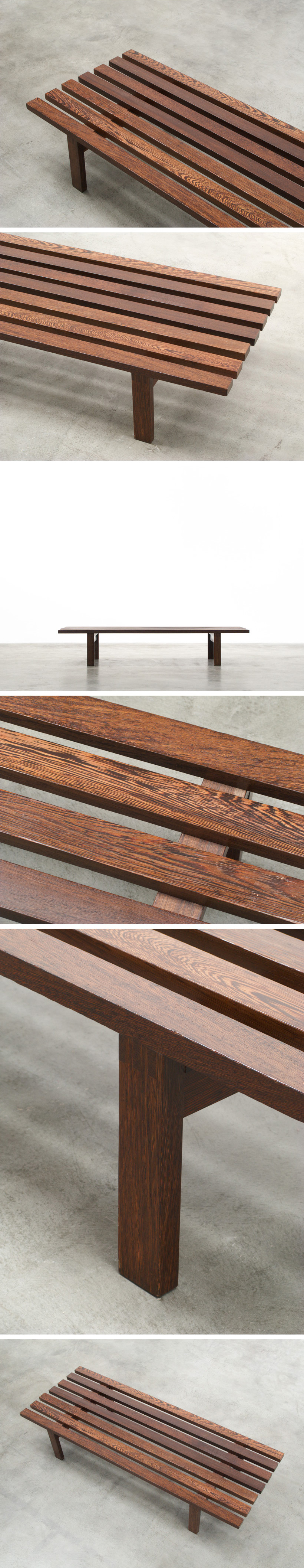 Martin Visser slat bench wenge wood made for Spectrum Large