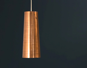Massive copper Danish origin pendant light 1950