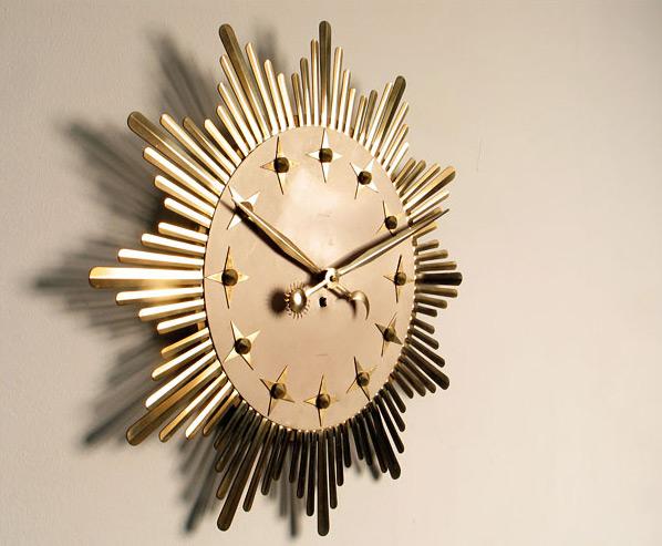 Metal Star Atlanta Sunflower clock 1950