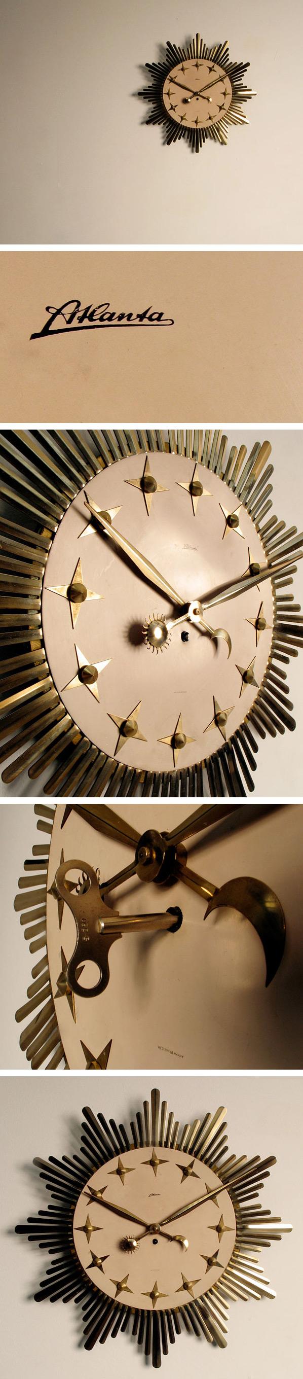 Metal Star Atlanta Sunflower clock 1950 Large