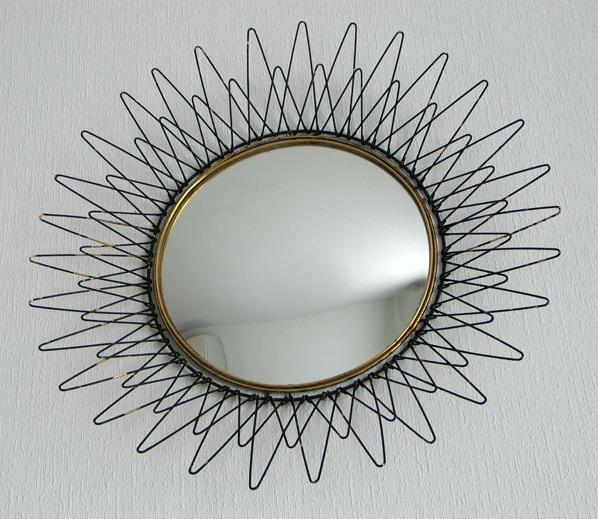Metal sun mirror Pilastro 1950 eames era