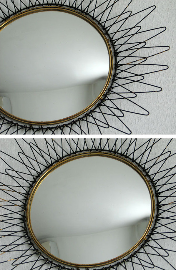 Metal sun mirror Pilastro 1950 eames era Large