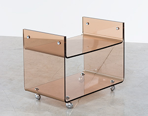 Michel Dumas lucite two level trolley Roche Bobois