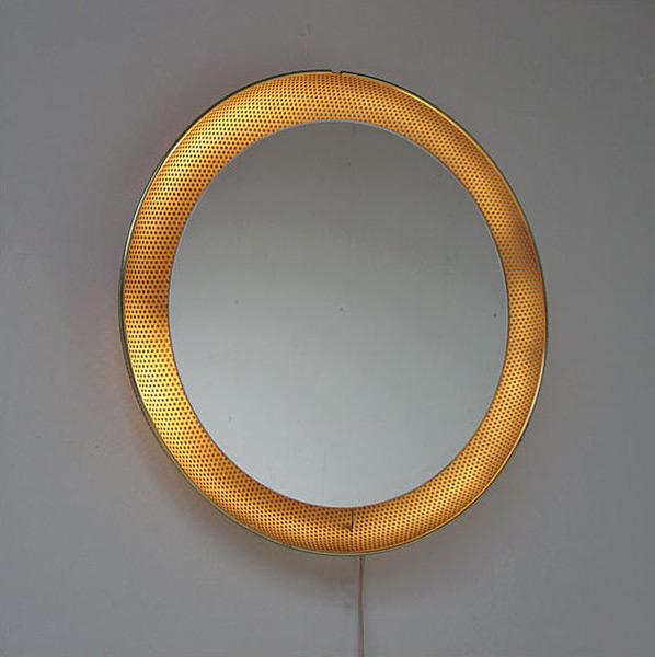 Mirror with perforated metal Pilastro Mategot Eames era