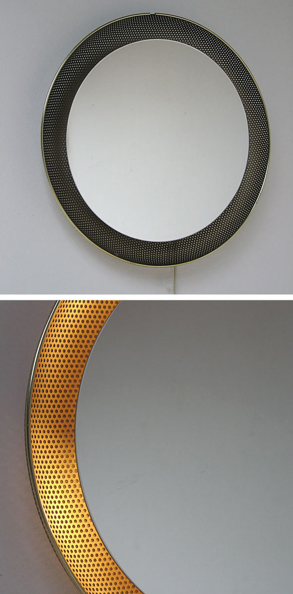 Mirror with perforated metal Pilastro Mategot Eames era Large
