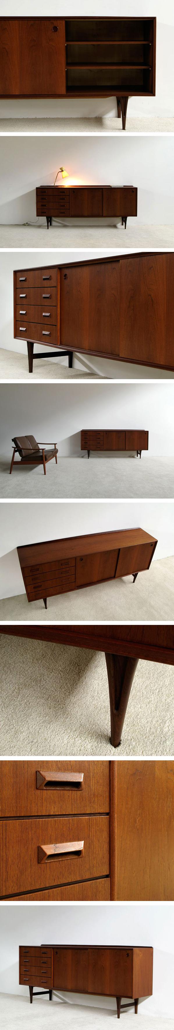 Modern 1960 grained teak sideboard Large