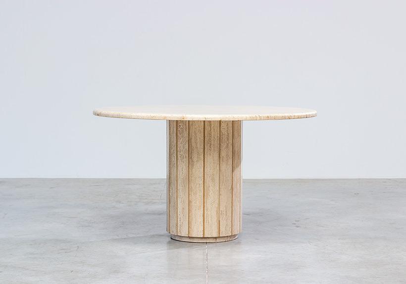 Modern architectural round Travertine dining table circa 1970 img 3