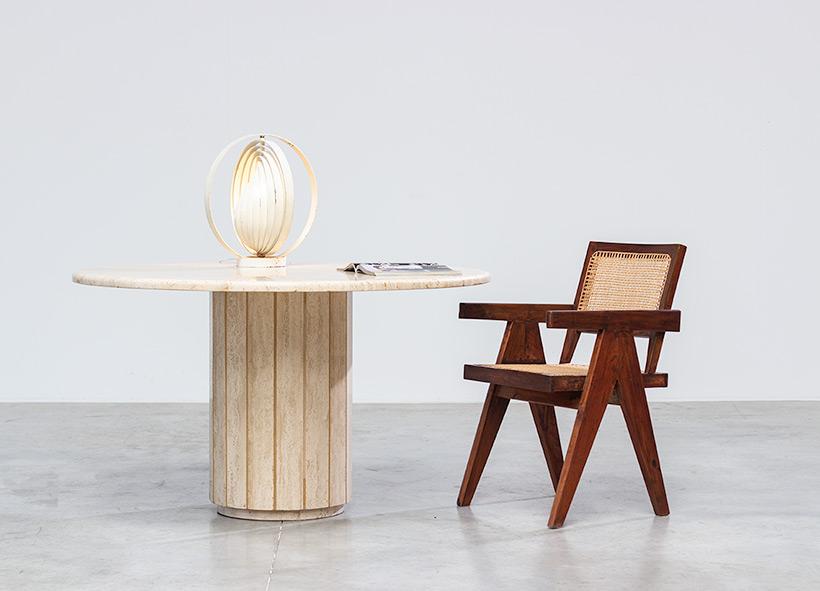 Modern architectural round Travertine dining table circa 1970 img 5