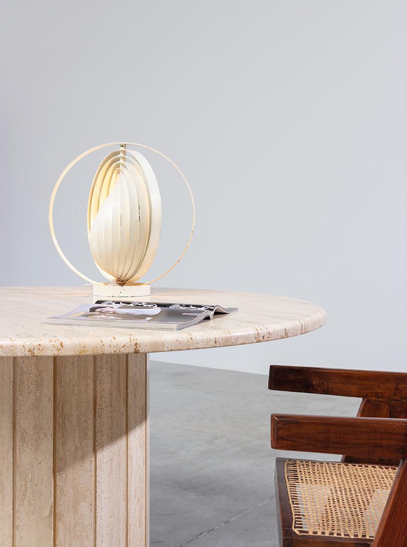 Modern architectural round Travertine dining table circa 1970 img 6